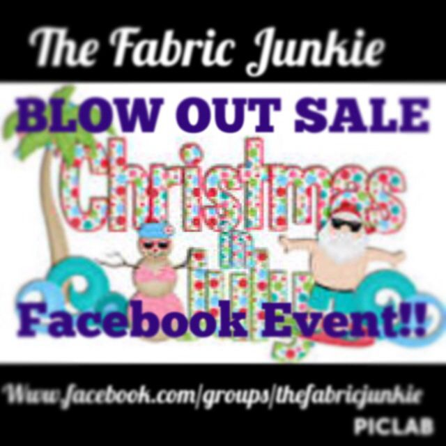 Huge sale!! Thousands of yards in stock. We have knit, flannel, cotton, fleece, minky, pul, and crafting supplies too.. Don't miss out!! Www.facebook.com/groups/thefabricjunkie  There is going to be fun giveaway and great bundle deals!! July 25 th only on facebook!