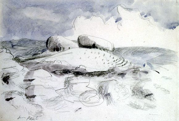 Landscape of the Wittenham Clumps (1946) by Paul Nash. Pencil and grey wash, one of Nash's last works.
