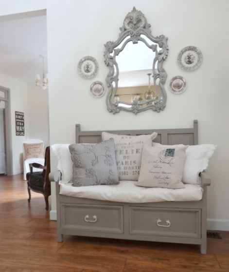 Bench in ASCP French Linen with dark wax; iron handles first in chalk paint then white craft paint and distressed