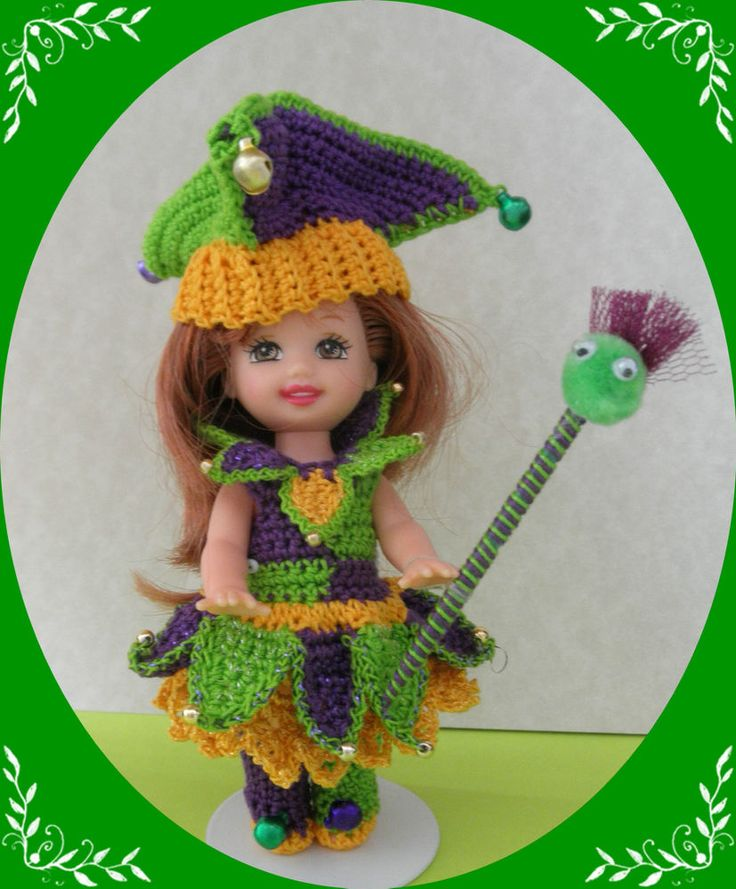 Crochet Doll Clothes Lime Mardi Gras Jester Outfit for 4½ Kelly & same size doll