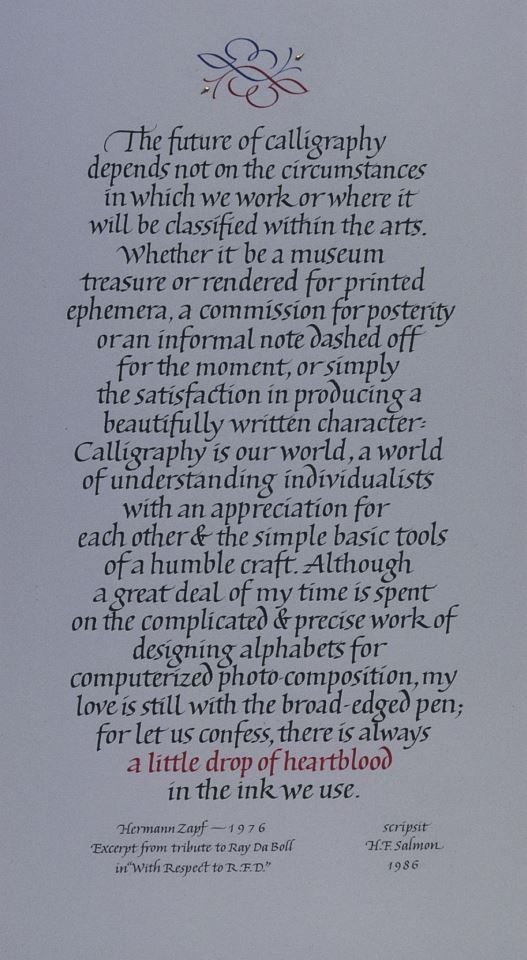 Fred Salmon. Beautiful words about calligraphy:-)