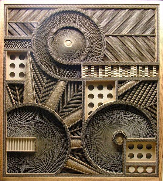mark langan, corrugated cardboard sculpture, recycled cardboard, recycled cardboard art, corrugated art
