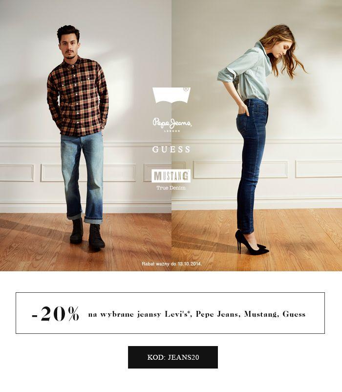 -20% na wybrane jeansy Kod: JEANS20 Rabat wazny do 13.10.2014 #brandpl #brand #jeans #levis #guess #pepejeans #mustang #onlinestore #shopnow