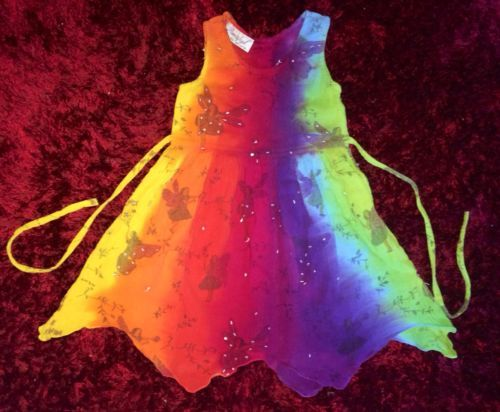 Rainbow Fairy Dress-size 2- Will stay Vibrant! FREE POSTAGE Australia