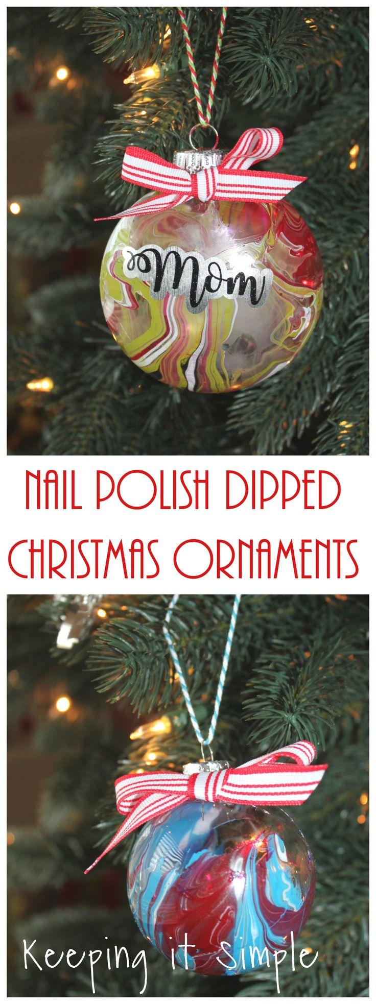 Nail Polish Dipped Christmas Ornaments Christmas ornaments