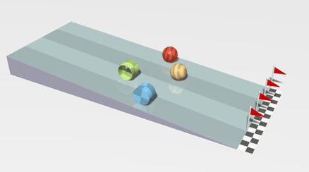 "Comparison of the effects of inertia on (from back to front) a hollow spherical shell (red), a solid ball (orange), a ring (green), & a solid cylinder (blue). ""An object's moment of inertia determines how much it resists rotational motion. In this simulation, four objects are placed on a ramp and left to roll without slipping. Starting from rest, each will experience an angular acceleration based on their moment of inertia."" Caption from link. Click through for animation"