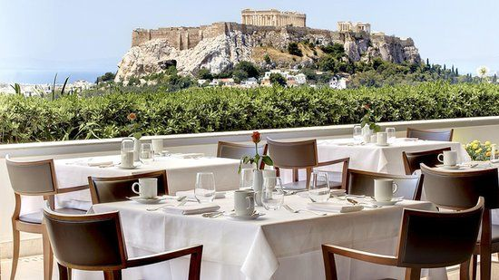 Hotel Grande Bretagne, Athens, Greece: A prime view of the Acropolis, Lycabettus Hill, and the parliament is reason enough to want to linger over a leisurely meal at Hotel Grande Bretagne's rooftop restaurant. Source: Hotel Grande Bretagne