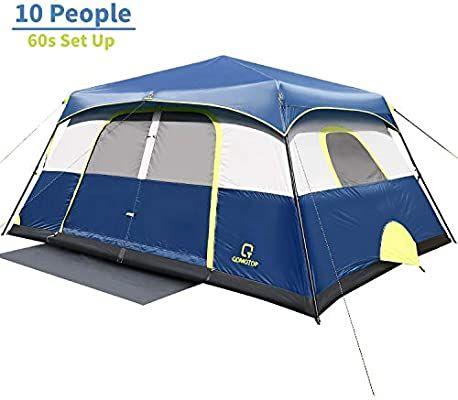Amazon Com Ot Qomotop Tents 10 Person 60 Seconds Set Up Camping Tent Waterproof Pop Up Tent With Top Rainfly Instant Cabin Waterproof Tent Tent Cabin Tent