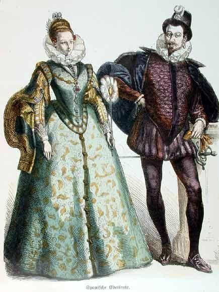 Retrato de trajes usados por la Nobleza española en un festejo renacentista. Se daba más importancia a la silueta, se marcaba tanto en hombres como en mujeres, al contrario que en la Edad Media que la ropa era más holgada.