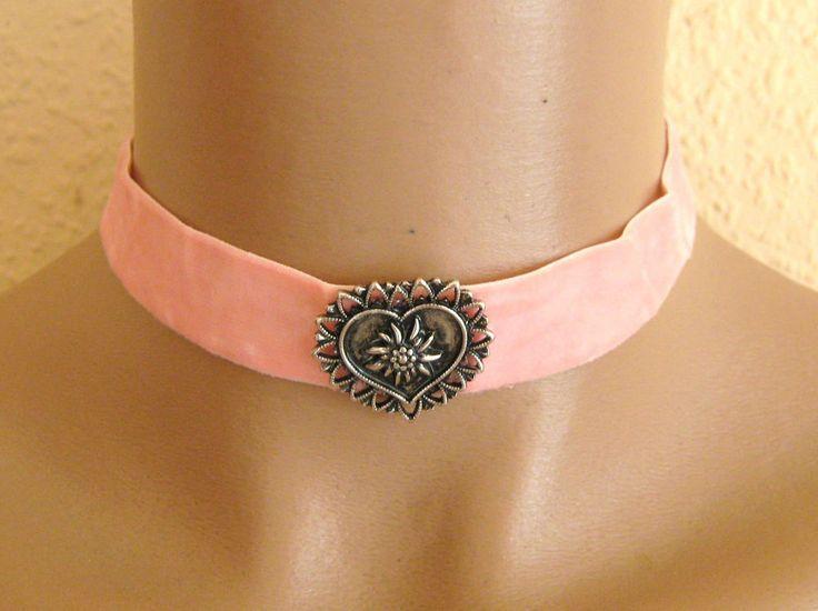 Trachtenschmuck, Trachtenkette, Halsband, elastischer Samt mit Herz