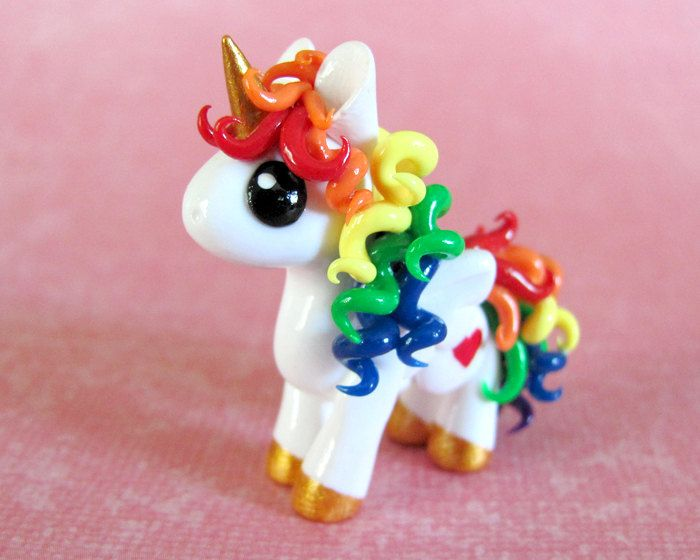 Rainbow Unicorn  Made to Order by DragonsAndBeasties on Etsy, $30.00