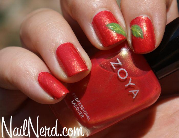 Orange Leaf Nails