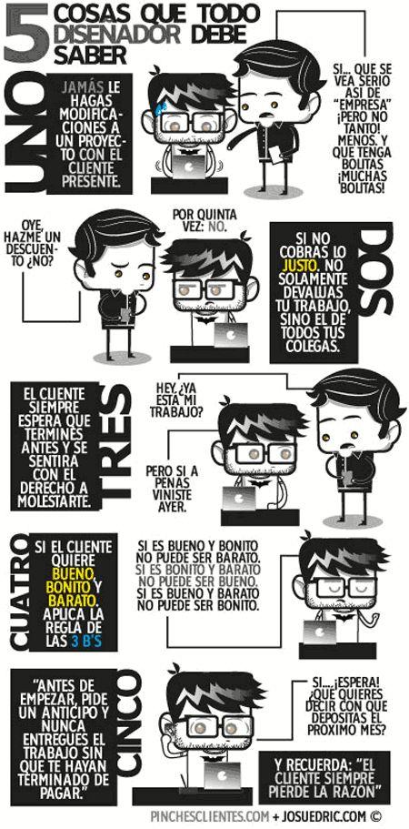 Infografía en español que muestra 5 cosas que todo diseñador debe saber.