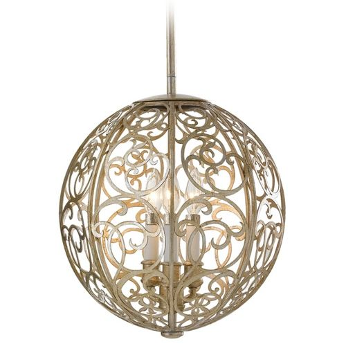 Murray Feiss Import Co. Chandelier In Silver Leaf Patina Finish