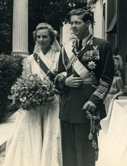 King Michael of Romania and bride Princess Anne of Bourbon-Parma on their wedding day, 10 June, 1948.