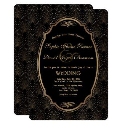 Charming Roaring 20s Great Gatsby Art Deco Wedding Card - wedding invitations diy cyo special idea personalize card