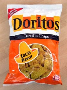 Taco flavor Doritos. A main staple for sleepovers with our friends. We always had plent of Nacho Cheese and Taco flavored! :)