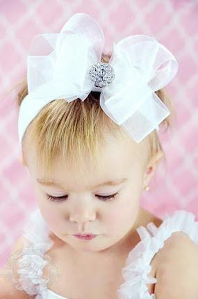 Fancy White Organza Hair Bow Headband for Babies