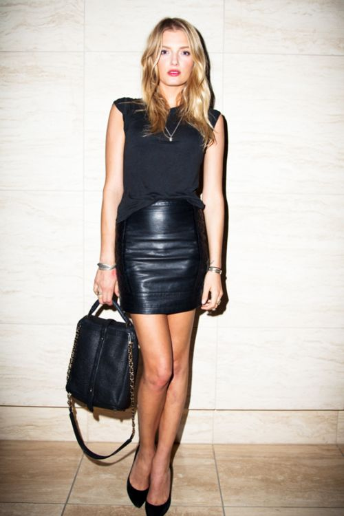 High waisted leather skirt with a black top | Leather or Pleather? | Pinterest | Skirt fashion ...