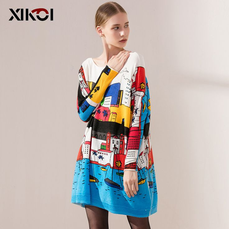 Autumn Long Women Sweater Casual Coat Batwing Sleeve