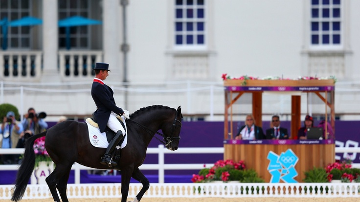 Carl Hester of team GB riding Uthopia as he competes in the Team Dressage Grand Prix Special on Day 11 of the London 2012 Olympic Games at Greenwich Park