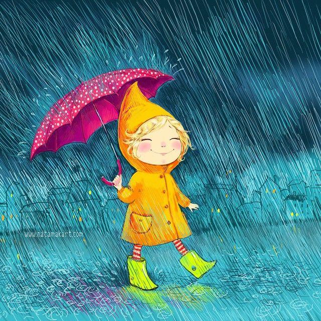Картинки прикольные осень дождь, для мальчика
