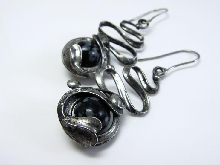 """SH-šperky - Náušnice """"Obsidiánová květina"""""""