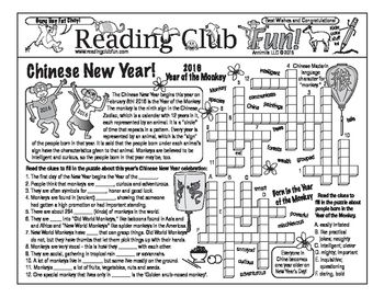 Learn about Chinese New Year 2016 (the Year of the Monkey) with this Two-Page Activity Set! Topics covered include the Chinese Zodiac, Chinese New Year itself, and traditions such as the Chinese Lantern Festival.