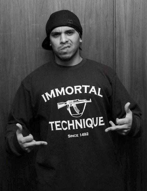 This is my favourite rapper, Immortal Technique. I enjoy listening to his rap's because he raps about the hypocrisies of the American government and such. Also, I like his metaphor's.