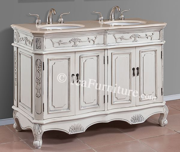 Merveilleux 50 Inch Antique White Double Sink Bath Vanity With Cream Marble Top   Item  1153