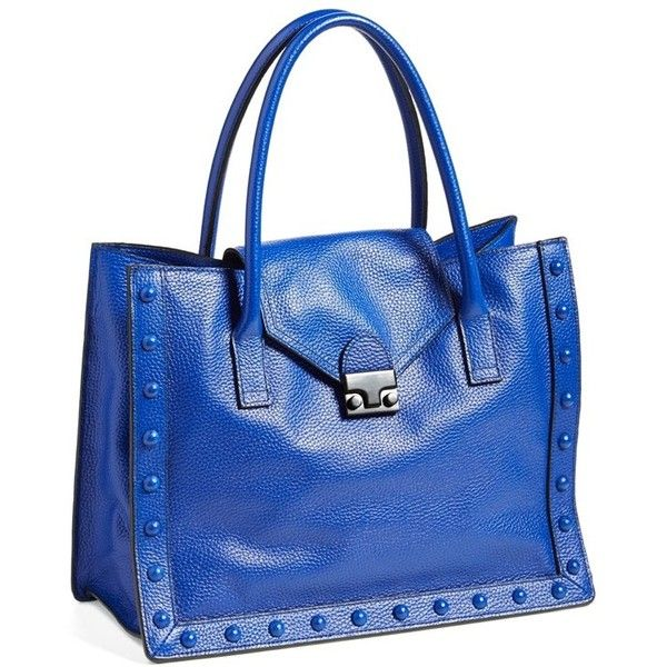 Women's Loeffler Randall 'Work' Tote ($510) ❤ liked on Polyvore featuring bags, handbags, tote bags, blue tote bag, studded purse, blue purse, structured tote bag and blue totes