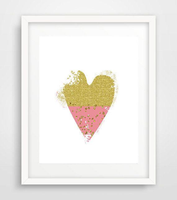 Pink heart, heart art print, nursery decor, gold glitter, wall art prints, printable art, scandinavian decor, living room by Ikonolexi on Etsy