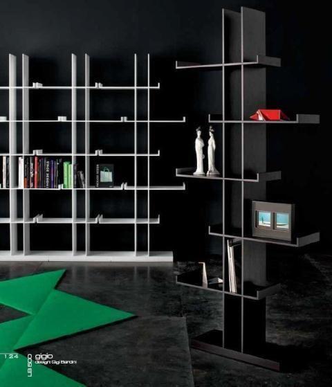 Estantería en aluminio, blanco y negro de estilo moderno
