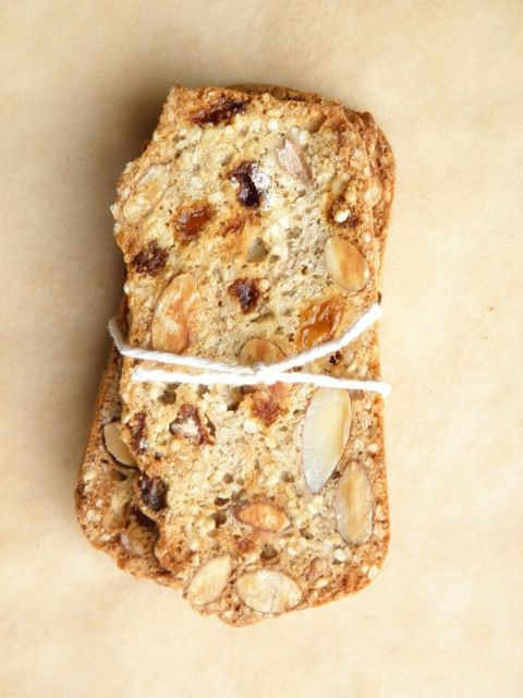 Sesame Almond Biscotti Thins - if you love Almondina, you need this easy recipe! Crisp, thin biscotti packed with almonds, sesame seeds and golden raisins. | TasteLoveAndNourish.com