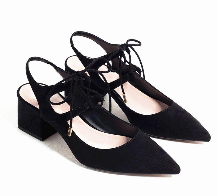 Marka Ayakkabı Kadın Lace Up Orta Topuklu Siyah Kadın Pompalar Sivri ayak 6 CM Topuklar Bayan Ayakkabı Ayak Bileği Kayış Bayan Ayakkabı Yaz C-789(China (Mainland))