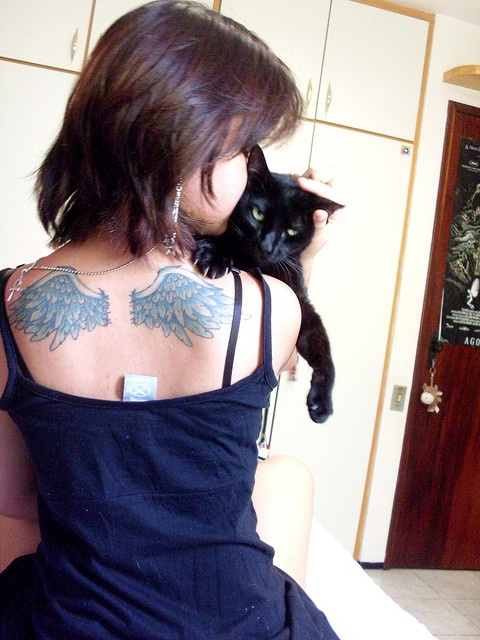 .Kitty Cat, Ink Check, Cat Tattoo, Tattoo Wings On Back, Angels Wings, Wings Tattoo, Cute Tattoo, White Ink, Black Cat