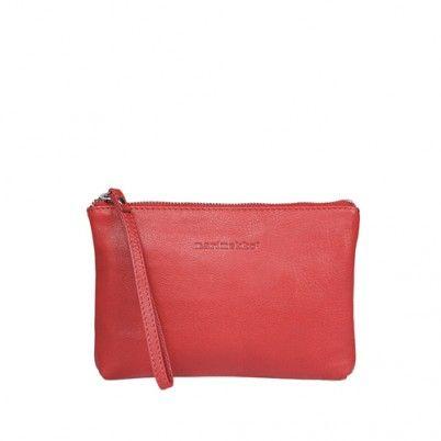 Marimekko plat tasje Pouch Tasku in rood leer. Marimekko bag Tasku in red leather. www.emma-b.nl