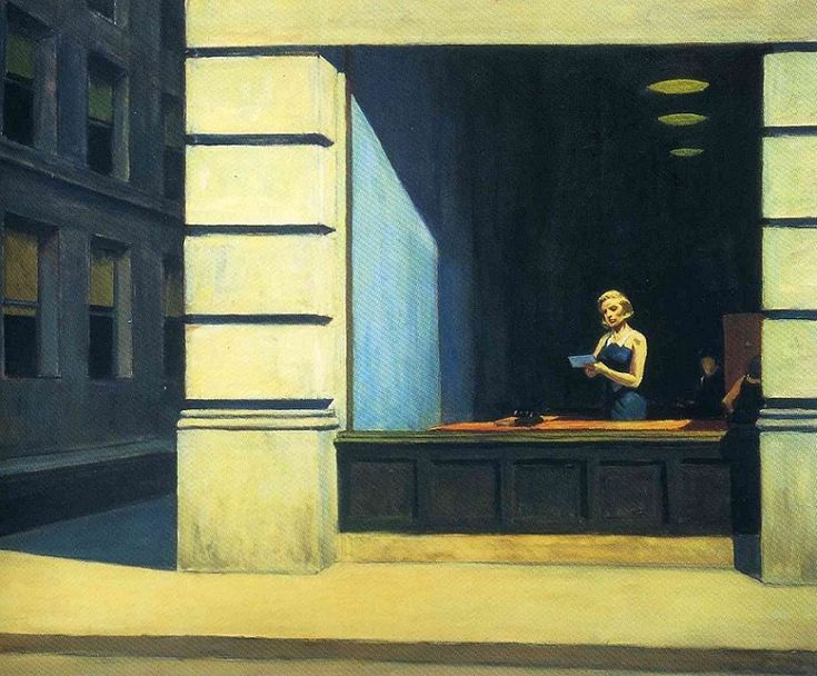 Edward Hopper (American, 1882-1967) - New York Office, 1962 (Oil on canvas. Montgomery Museum of Fine Arts) - - The animation of urban life is suspended for a brief moment, haste and unrest come to a standstill, revealing the absurdity of the rat race. A secretary behind a big picture window reads a letter in her hand, apparently lost in thought - until the telephone ringing on her desk recalls her to the real world… - Németh György