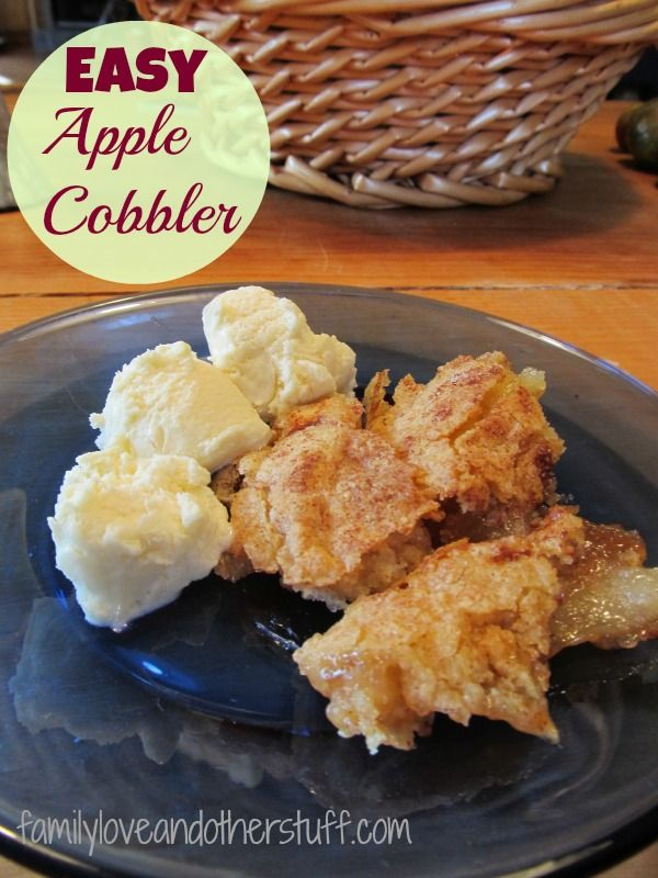 Easy Apple Cobbler Recipe--made from scratch, NO box cake mix.