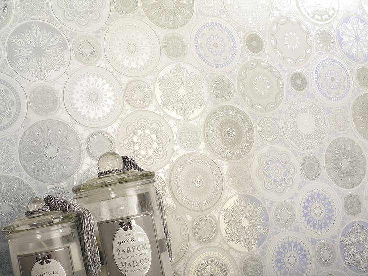 elegant ceramic mosaic tiles in white silver and with touches of glitter beautiful wall - Mosaic Tile Restaurant Ideas