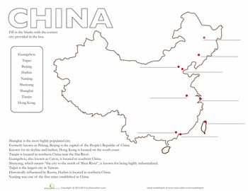 Worksheets: Map of China