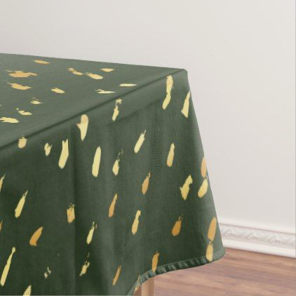 Stylish abstract gold splatter hunter green tablecloth - stylish gifts unique cool diy customize