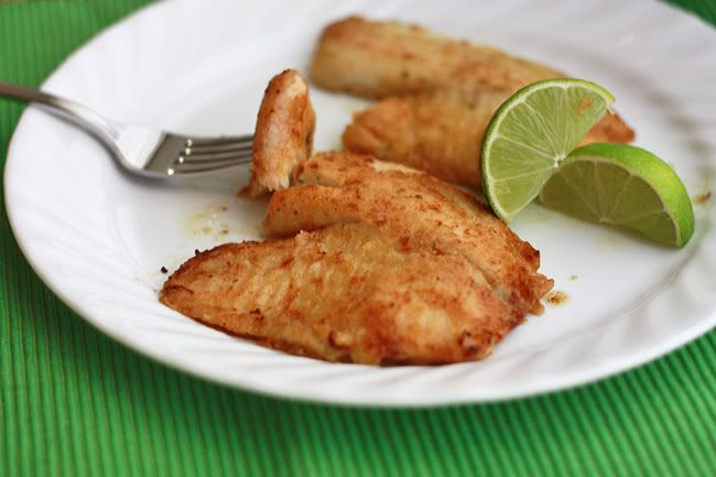 Honey Lime Tilapia [made it with 101 cookbook's cilantro chili sauce and smashed potatoes].