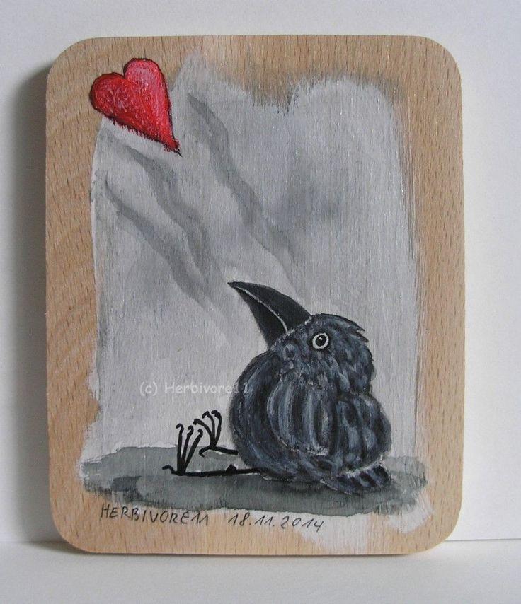LIEBESENTZUG von Herbivore11 Rabe Raben Holz Bild Liebe Herz Crow Raven Kunst