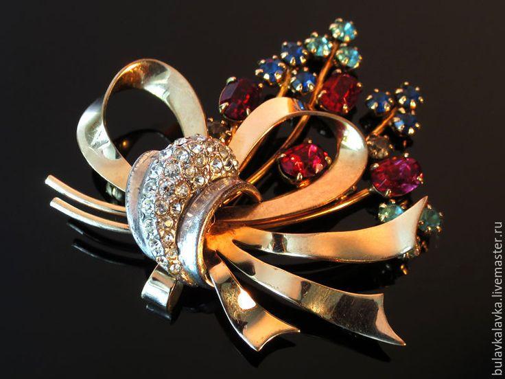 Купить Gaylin Винтажная брошь с кристаллами 1/20 12K G.F. - золотой, винтажные украшения
