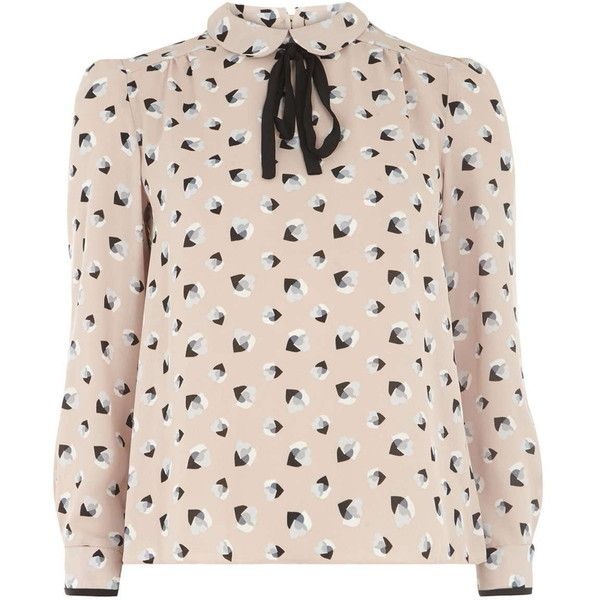 Dorothy Perkins Petite Blush Heart Bow Blouse (605 ZAR) ❤ liked on Polyvore featuring tops, blouses, petite, pink, dorothy perkins, petite blouses, tie blouse, petite tops and pink blouse