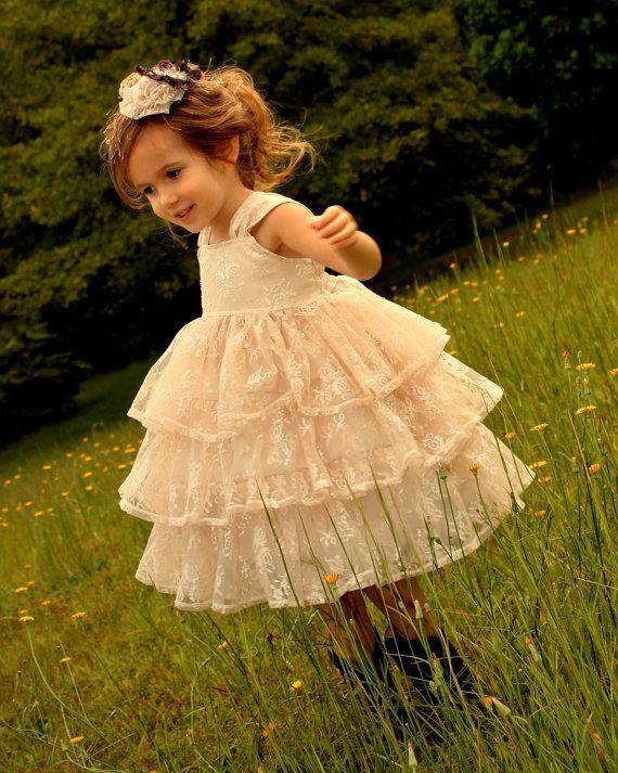 Vintage lace flower girls dresses