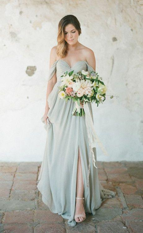 Off Shoulder Bridesmaid Dress,Dusty http://www.ikuzoclothing.com