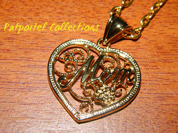 """""""Mom"""" 9K Yellow Gold filled Pendant w/comp chain - Patportel Collections"""