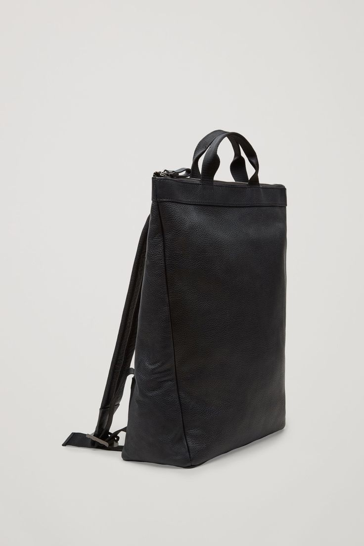 COS image 4 of Leather tote backpack in Black